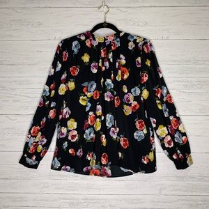 Ann Taylor Floral High Neck Blouse With Back Bow
